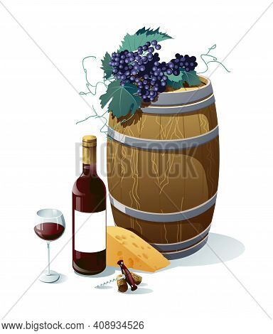 Grape, Wine Bottle, Wineglass, Barrel, Grapes, Cheese, Vector Illustration. Objects Isolated On Whit