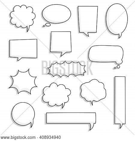 Collection Set Of Hand Drawn Line Frame Border,blank Speech Bubble Balloon Square Shape, Think, Spea