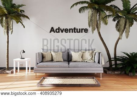 Elegant Living Room Interior With Vintage Sofa Between Large Palm Trees; Adventure Lettering; Travel