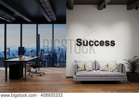 Modern Clean Office With Computer Workplace And Large Wall And Couch With Skyline View, Wall With Su