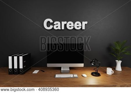 Modern Clean Office Workspace With Computer Screen And Concrete Wall; Career Lettering; Hiring Conce