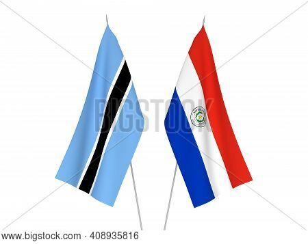 National Fabric Flags Of Botswana And Paraguay Isolated On White Background. 3d Rendering Illustrati