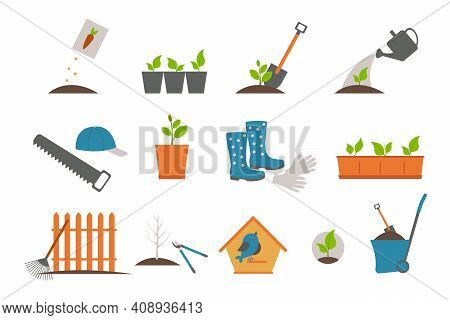 Plants and gardening tools lawn mower spade and rake vector spatula and secateurs flower in pot trees sprouts rubber boots and knife bucket and hose shovel and watering can rubber gloves cart.