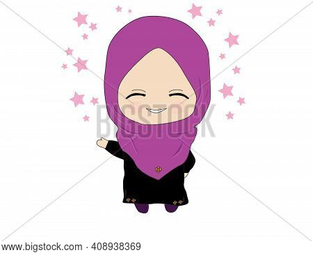 Hooded Cute Little Muslime Welcomes The Month Of Ramadanwith A Happy Smiling Face He Is Happy With T