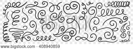 Ornate Florid Scribbles Lines Doodle Set. Collection Of Hand Drawn Scribbles Of Various Patterns Wav
