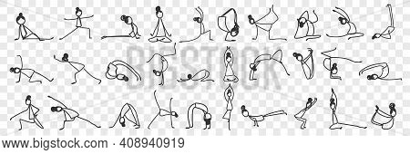 Practicing Yoga And Pilates Doodle Set. Collection Of Hand Drawn Female Silhouettes Making Asanas Pr