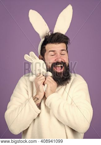 Easter Bunny. White Bunny Symbol Of Easter Holiday. Soft And Tender. Guy With Bunny Or Rabbit Ears O