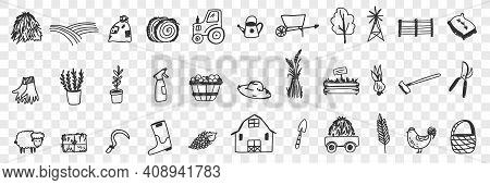 Farming Tools And Equipment Doodle Set. Collection Of Hand Drawn Tractor Hay Farm Animals House Bask