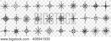 Cardinal Points On Compass Doodle Set. Collection Of Hand Drawn Patterns Of North South West And Eas