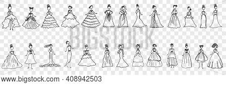 Feminine Elegant Dresses Doodle Set. Collection Of Hand Drawn Stylish Fashionable Elegant Dresses Fo