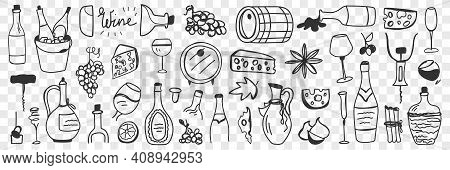 Goods For Wine Making Doodle Set. Collection Of Hand Drawn Barrels Grapes Jugs Bottles Glasses Chees