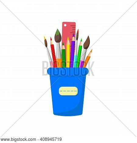 Pencils, Brushes, Ruler In Stand, Isolated On White Background. Colorful Home And Office Stationery