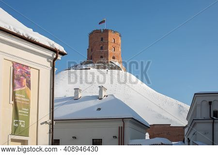 Vilnius, Lithuania - February 16, 2021: Gediminas' Tower, The Remaining Part Of The Upper Castle In