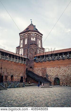 Mir, Belarus - August 04, 2017: Ancient Medieval Castle With Tower In Mir, Belarus. Unesco World Her