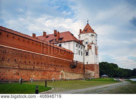 Mir, Belarus - August 04, 2017: Ancient Medieval Castle With Towers In Mir, Belarus. Unesco World He