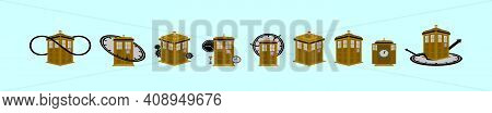 Set Of British Police Box Or Public Call Cartoon Icon Design Template With Various Models. Modern Ve