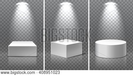 Set Of Museum Exposition Blank Product Stands. 3d Realistic Vector Square, Round And At The Angle Po
