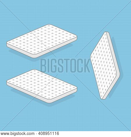 White Mattress Vector Illustration. Motel Room Sleeping Lodge Bed. Comfortable Double Mattress For S
