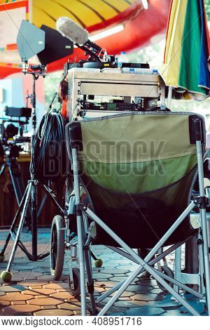Film Crew Equipment, Detail Image Of  Director's Chair On A Film Set.