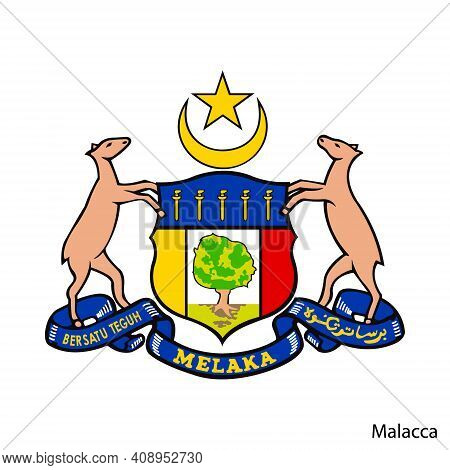 Coat Of Arms Of Malacca Is A Malaysian Region. Vector Heraldic Emblem
