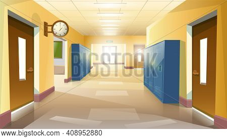 Cartoon Style Empty Without Pupils School Hallway With Doors And Clock On The Wall.