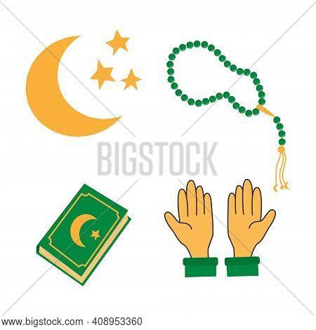 Set Of Holy Ramadan Kareem Elements Koran, Pray Hands, Moon And Praing Beads. Muslim Festival Ramaza