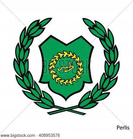 Coat Of Arms Of Perlis Is A Malaysian Region. Vector Heraldic Emblem
