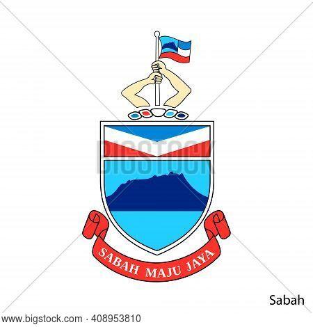 Coat Of Arms Of Sabah Is A Malaysian Region. Vector Heraldic Emblem
