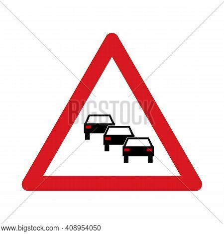 Traffic Sign Warning For Traffic Jams. Traffic Sign Isolated On White Background. Vector Illustratio