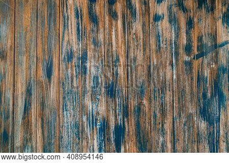 Faded Aged Wooden Fencing With Aged Blue Paint Or Stain With A Rustic Look And Feel