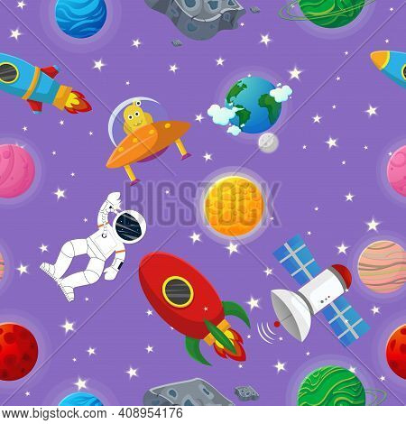 Galaxy Seamless Pattern Design. Astronaut With