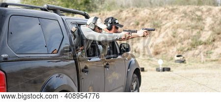 Military Tactical Car Shooting. Army Soldiers In Action