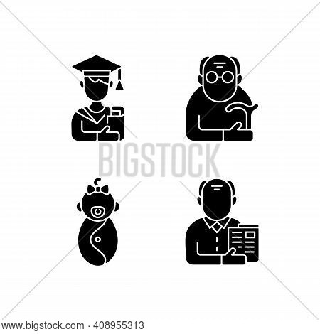 Aging Process Black Glyph Icons Set On White Space. Male Student. Pensioner. Early Adulthood. Baby P