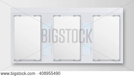 Realistic Bulletin Board Isolated On Grey Wall Background. Information Board With Three Blank Paper