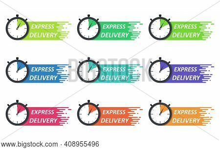 Set Of Express Delivery Logo Concept. Stopwatch Icon For Express Service. Template Design For Servic