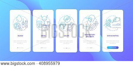 Laboratory Specimens Onboarding Mobile App Page Screen With Concepts. Urine Sample, Tissue Biopsy Wa