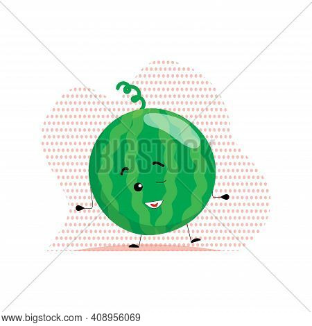 Cute Watermelon Winks. Vector Illustration In Cartoon Style Isolated On The Background. Watermelon I