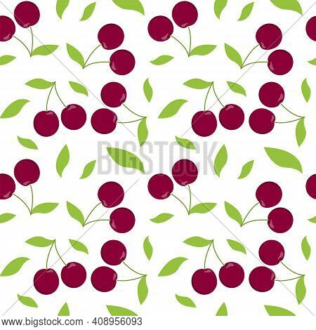 Cherry Seamless Pattern. Vector Illustration Of Juicy Berries On A White Background. Juicy Endless T