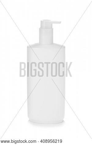Blank pump bottle mockup isolated on white background