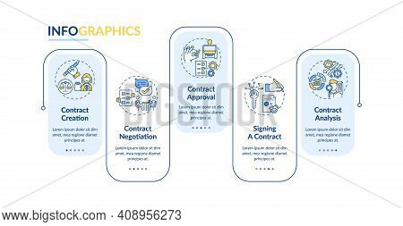 Contract Lifecycle Steps Vector Infographic Template. Contract Negotiation Presentation Design Eleme