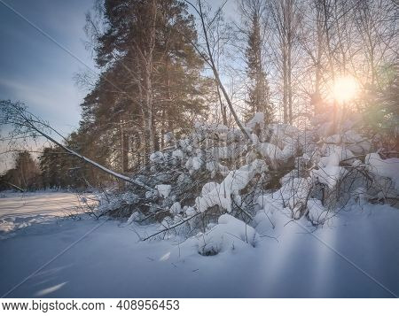 Beautiful Winter Landscape In The Mountains. Sunrise. Fantastic Winter Landscape During Sunset.