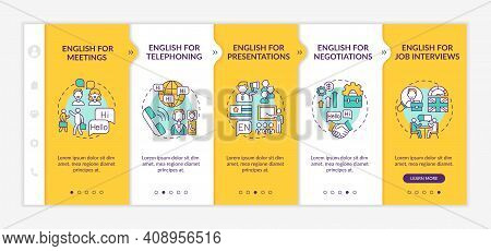 Business English Aims Onboarding Vector Template. Foreign Language For Meetings, Telephoning, Negoti