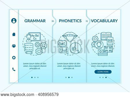 Foreign Language Learning Categories Onboarding Vector Template. Linguistics, Pronunciation, Wordsto