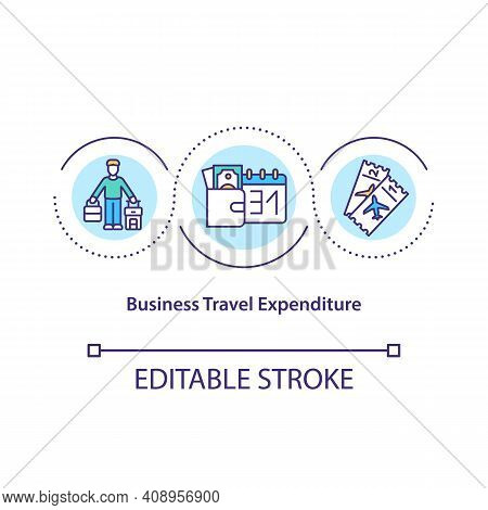 Business Travel Expenditure Concept Icon. Costs Incurred Of Traveling For Business Purposes Idea Thi