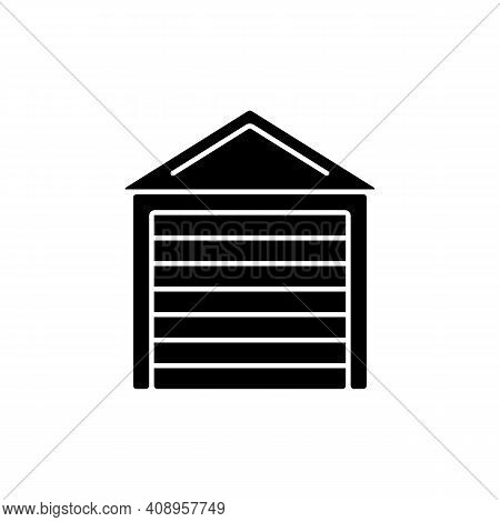 Garage Doors Black Glyph Icon. Storage Space. Parking Car In Garage. Safety And Liability. Keeping V