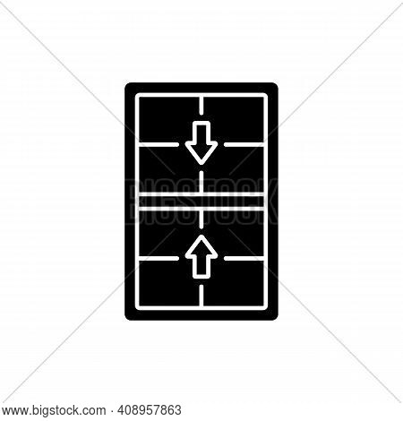 Double-hung Windows Black Glyph Icon. Two Operating Sash Moving Up, Down. Vertical-sliding Window. E