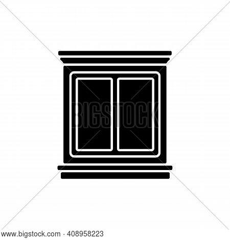 Window Interior Trim Black Glyph Icon. Window Decoration. Home Improvement. Decorative Trim. Mouldin