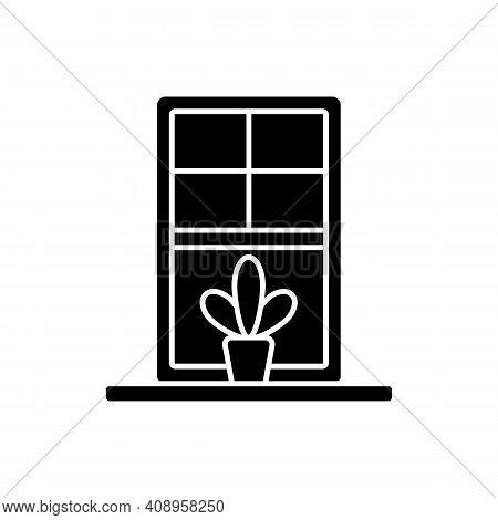 Windowsills Black Glyph Icon. Window Ledge. Horizontal Structure, Surface At Window Bottom. Structur