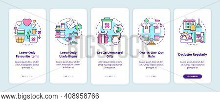 Decluttering Tips Oonboarding Mobile App Page Screen With Concepts. House Cleaning And Decluttering