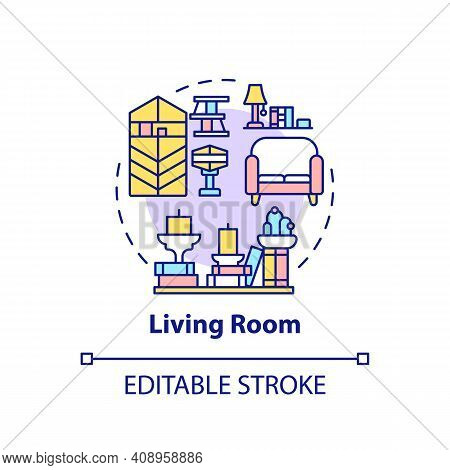 Living Room Concept Icon. Decoration And Decluttering Idea Thin Line Illustration. Place For Relax.